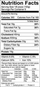 pizza nutrition information